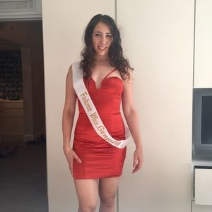 Bebe Red satin material bodycon dress